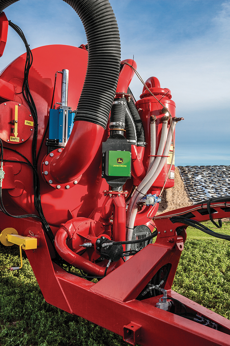 John Deere's Manure Constituent Sensing system can be plumbed onto a variety of tanker or dragline equipment for the application of liquid manure.