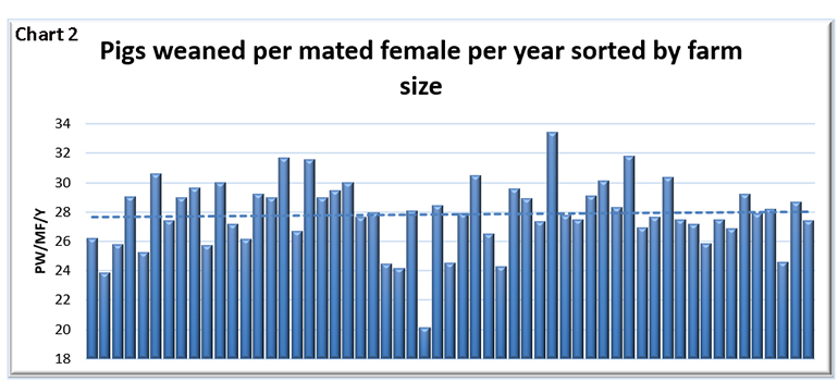 Chart 2: Pigs weaned per mated female per year sorted by farm size