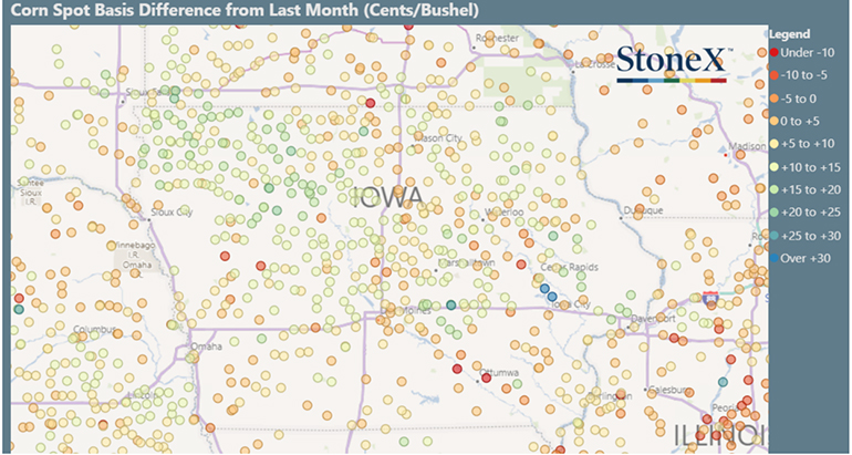 Corn spot basis difference from last month (cents per bushel)