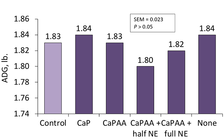 Figure 1: Effects of different nutrient release values of 2,500 phytase on growing pig average daily gain.