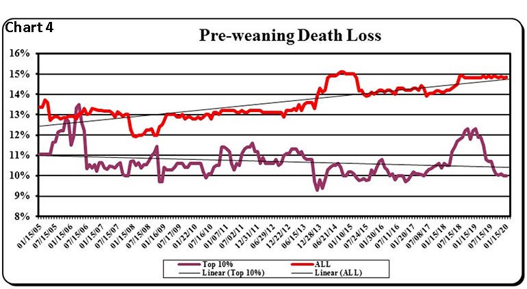 Chart 4: Pre-weaning death loss