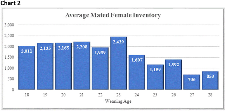 Chart 2: Average mated female inventory by piglet weaning age