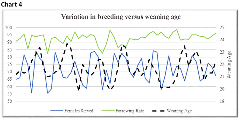 Chart 4: Variation in breeding versus weaning age