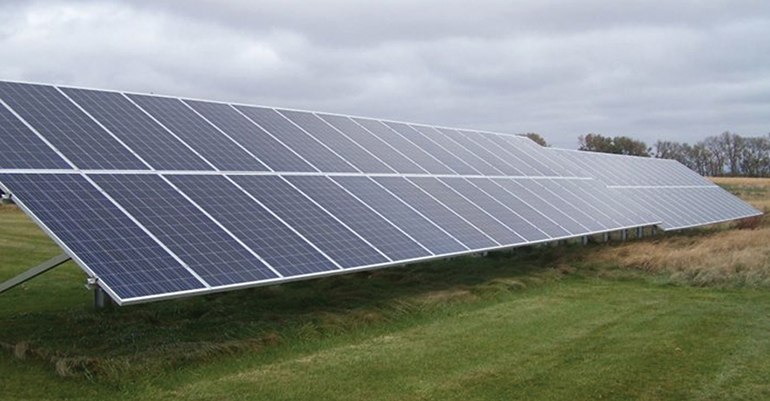 These are the solar panels (20 kilowatts) installed at the WCROC that were used to power the sow cooling system.