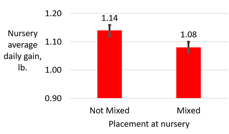 Figure 1: Effect of mixing at nursery placement on nursery growth performance.