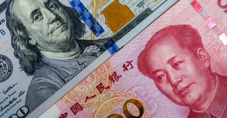 Images of Chinese and U.S. money