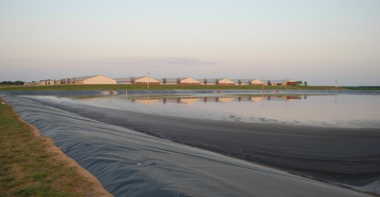 Hog farm with lagoon