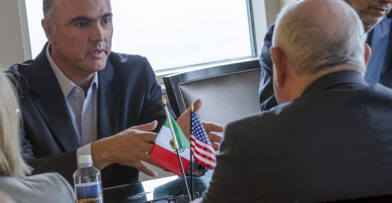 USDA Secretary Sonny Perdue with Mexico Secretary of Agriculture Livestock, Rural Development, Fisheries and Food José Calzada Rovirosa in a bilateral meeting