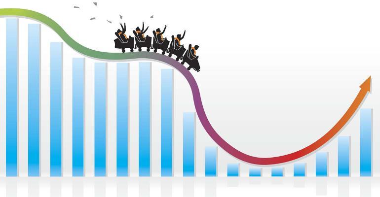 Vector illustration of businessmen on a roller coaster ride bar graph
