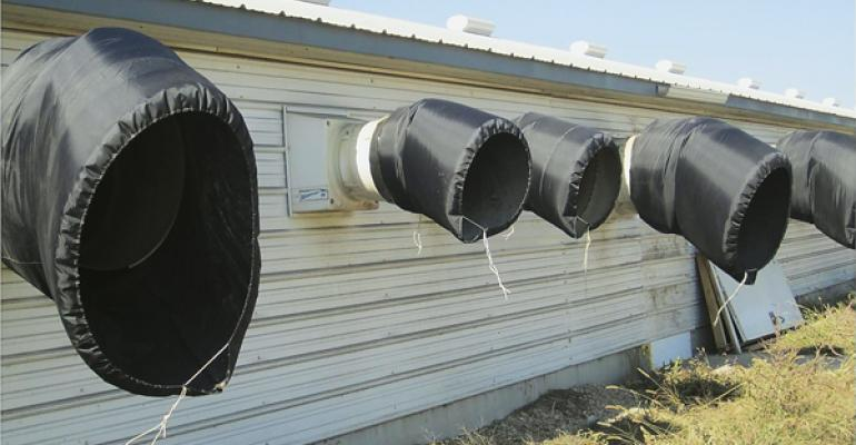 hog barn fans with exhaust chutes
