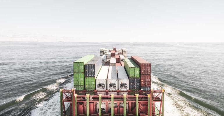 barge with shipping containers