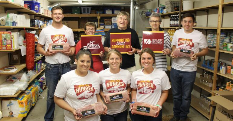 Representatives of the Deb and Jeff Hansen Foundation and Iowa Select Farms hand-delivered 300 pounds of pork loins to the Britt Area Food Bank in Iowa. The donation was part of the Haul Out Hunger program, an effort to alleviate food insecurity in rural communities through the donation of 28 tons of nutrient-rich pork to 98 pantries across Iowa.