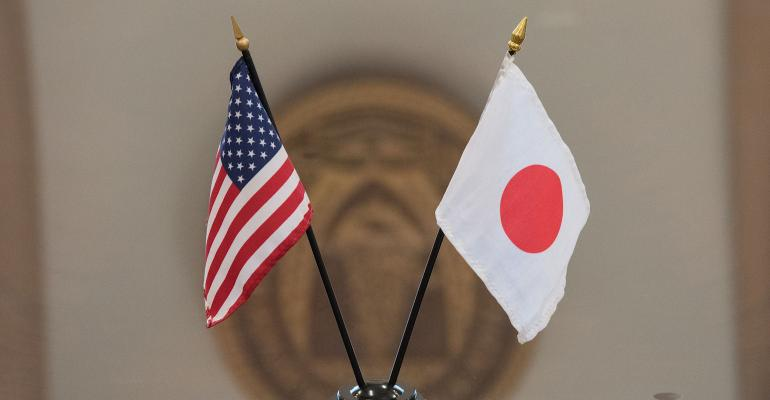 Japan and US flags