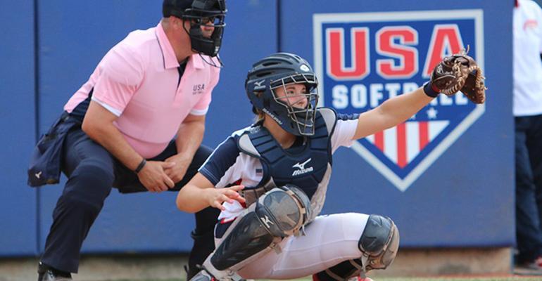 softball catcher Gabi Deters and umpire