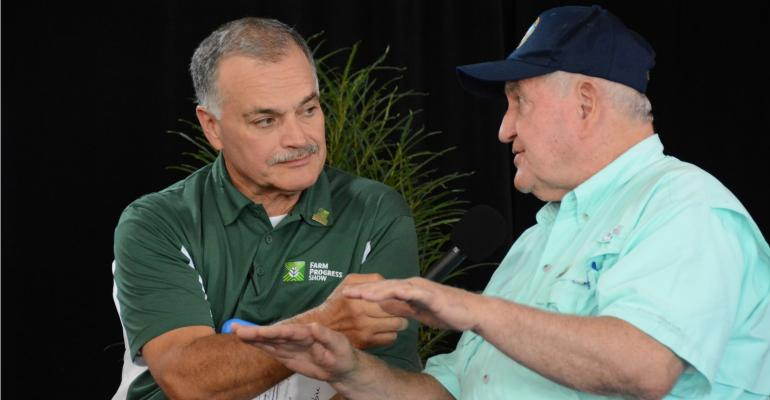 Max Armstrong speaks with Ag Secretary Sonny Perdue at FPS 2018