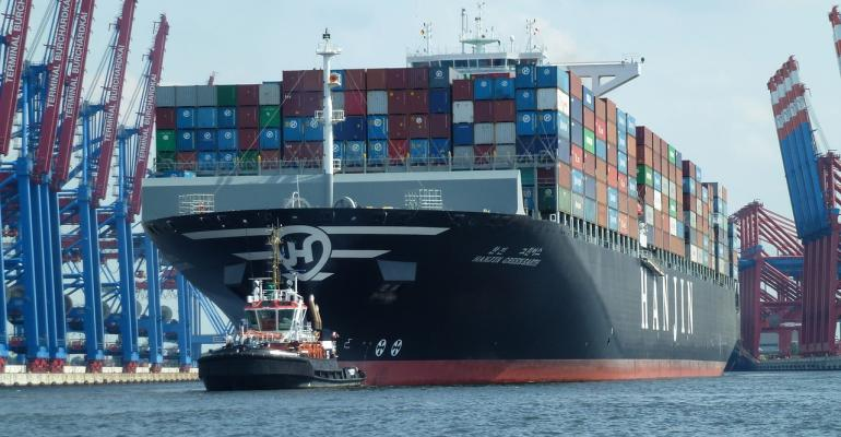 containership port closeup container cargo ship