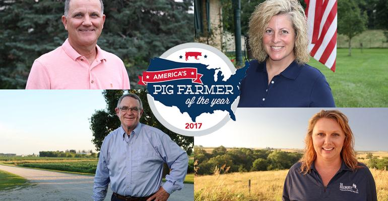 Finalists for 2017 America's Pig Farmer of the Year: clockwise from upper left, Bill Luckey, Maria Mauer, Leslie McCuiston and Leon Sheets.