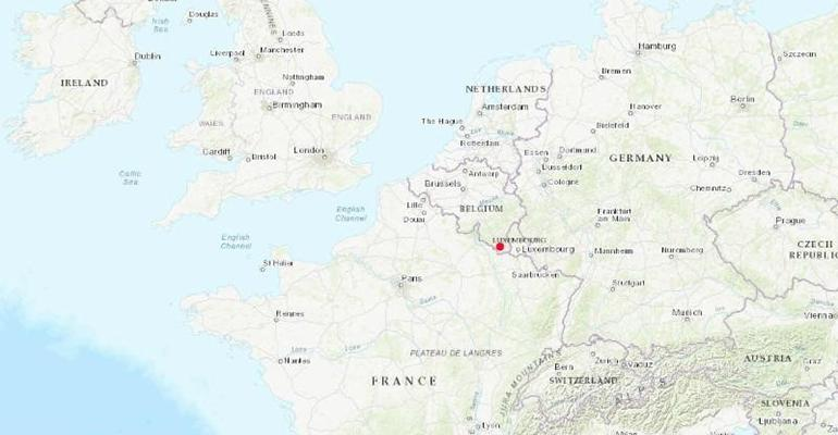 Figure 1: Europe. In red, village of Étalle, Belgium, location of the latest report of African swine fever.