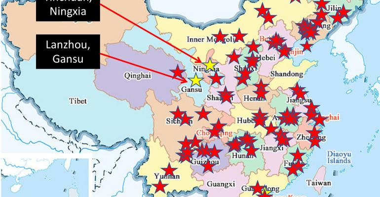 map of African swine fever outbreaks in China