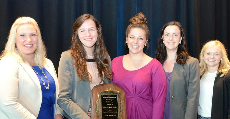 The 2018 Livestock Publications Council Student Award Program travel scholarship award winners (right to left): Kiera Leddy, Oklahoma State University; Sarah Moyer, Kansas State University; Alexa Nordwald, University of Missouri; Madison Hokanson South Dakota State University and the 2018 Livestock Publications Council Forrest Bassford Student Award recipient, with Jenn Norrie, Alltech communications manager for North America, during the Ag Media Summit in Scottsdale, Arizona, Aug. 4-8, 2018.