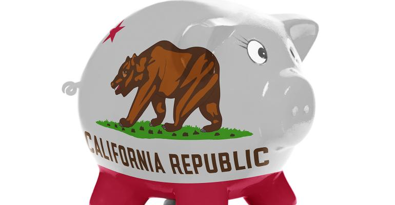 Porcelain pig with California logo on its side