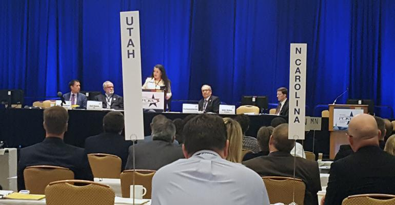 Anti-poverty advocate Diane Sullivan shares her story of family homelessness and poverty with the delegate body of the National Pork Producers Council during the annual meeting at the Pork Industry Forum in Atlanta, Ga.