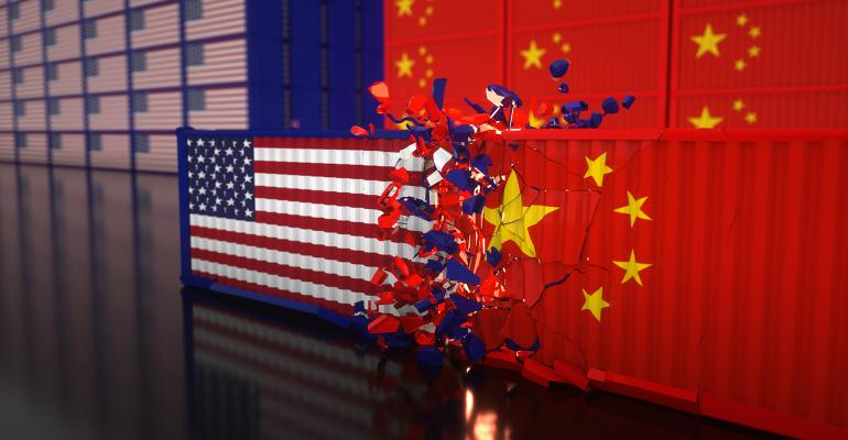 Illustration of U.S. and China on a trade collision course