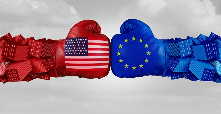 Illustration of U.S. and EU trade dispute, boxing gloves