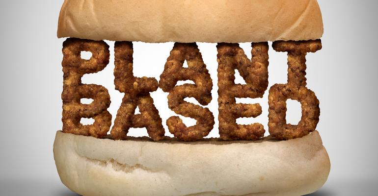 Photo illustration of a plant-based burger