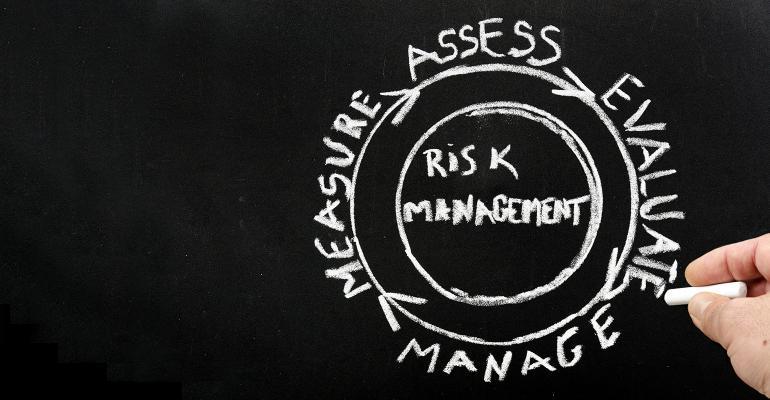 Risk management chalkboard illustration