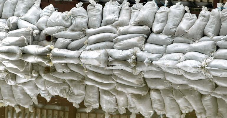 Sand bags hold back floodwaters