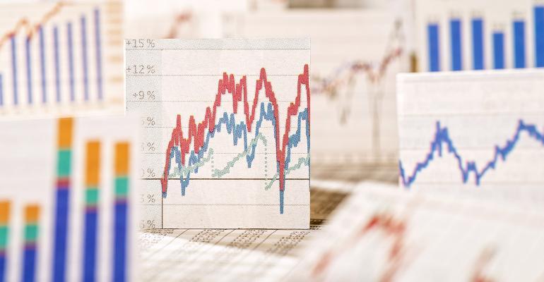 Illustration of charts showing market volatility