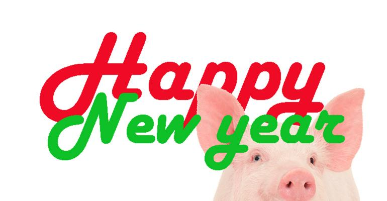 Illustration of pig with Happy New Year