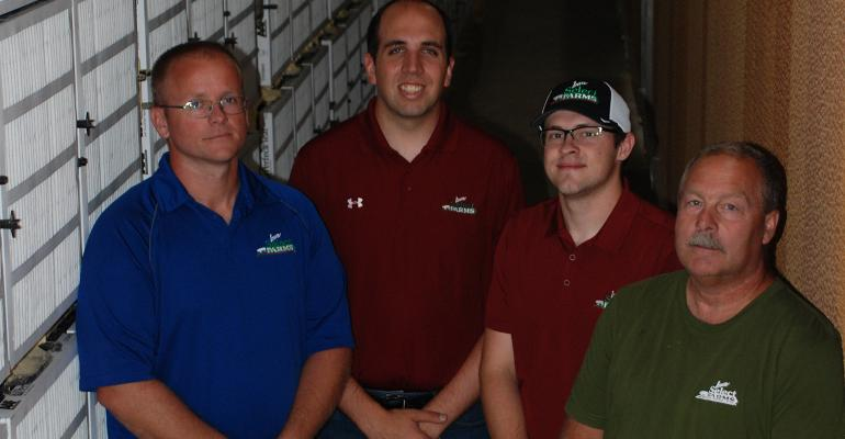 Iowa Select Farms' ventilation and filtration team — (left to right) Zach Schumacher, John Stinn, Jeremy Andersen and John Putney