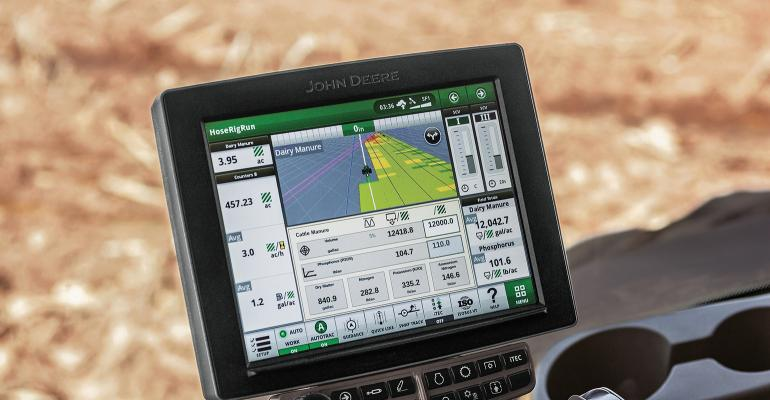 John Deere's Manure Constituent Sensing system monitors nutrients that are in manure as it is being applied to a field, allowing the applicator to adjust the amount of manure being applied based on the needs of the crop.