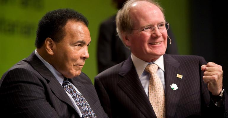 Pearse Lyons and Muhammad Ali shared the stage at the Alltech symposium in 2009. The two men also shared a commitment to making a difference in the world through humanitarian efforts. Lyons will be honored posthumously with the Muhammad Ali Humanitarian Award for Lifetime Achievement on Sept. 20.