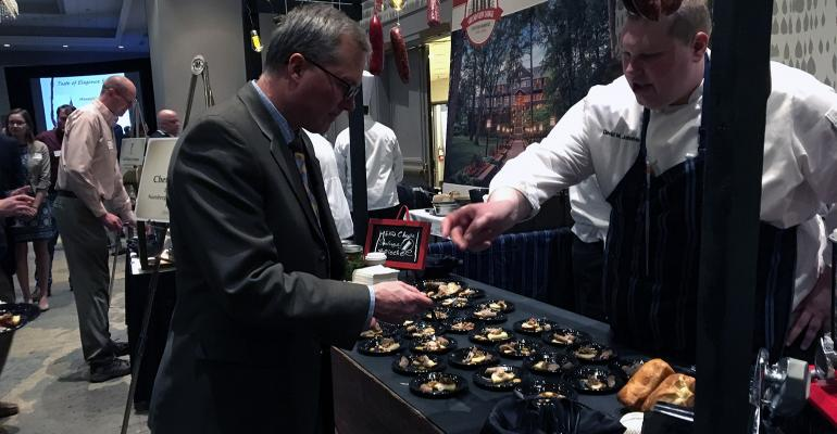 Chef David Johnivin's display of his Butcher's Dinner: Nürnberg Sausage, Head Cheese and Pork Fat Brioche earned him Best Evening Table Display and $250 during the 2019 Taste of Elegance to kick off the Minnesota Pork Congress.