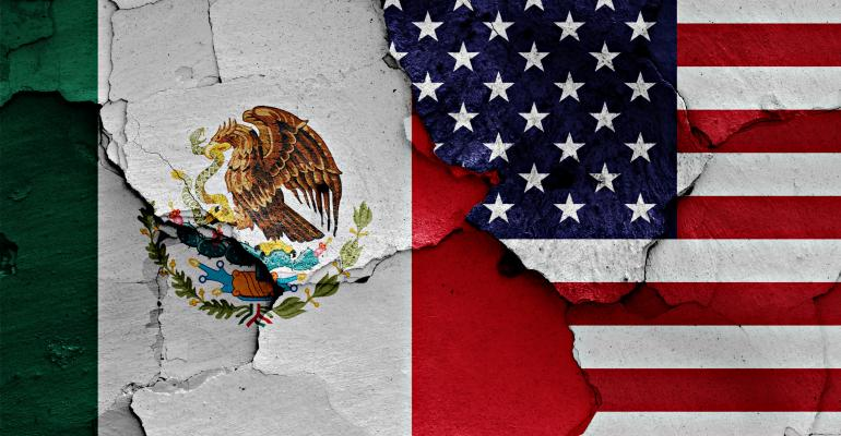 Mexico and U.S. flags
