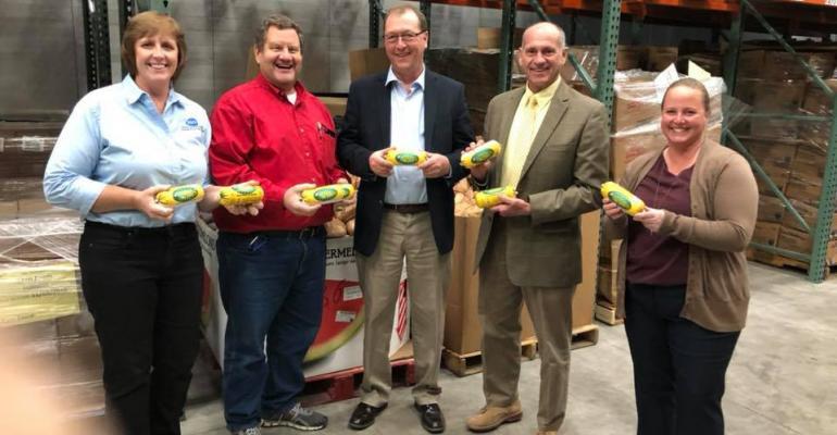 From left: Pam Janssen, Illinois Pork Producers; Mike Hoffman, Midwest Food Bank; Dirk Rice, Illinois Corn Marketing Board; Don Duvall, Illinois Corn Marketing Board and Jenny Mennenga, Illinois Soybean Association.