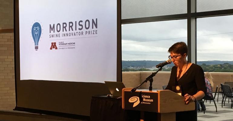 Perle Boyer, assistant professor in the University of Minnesota's Department of Veterinary Population Medicine, announced the Morrison Swine Innovator Prize