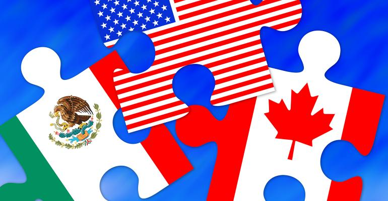 Disconnected puzzle pieces of the three countries in the North American Free Trade Agreement - Mexico, U.S., Canada