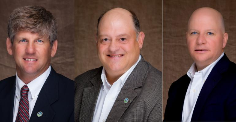 National Pork Board executive officer team: Terry O'Neel, Steve Rommereim and Brett Kaysen