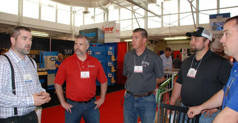 Crystal Spring's Tom McAdams explains the research and development that went into the company's nipple to New Product Tour panel members Erik Potter, Pat Thome, Joseph Darrington and Aaron Lower.