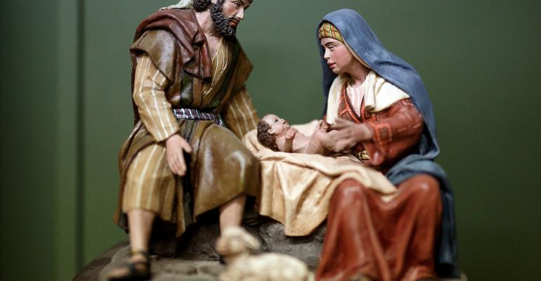 Picture of clay figurine of Joseph, Mary and Baby Jesus