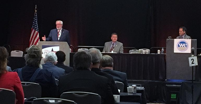 National Pork Producers Council CEO Neil Dierks addresses the NPPC delegate body during the 2018 National Industry Pork Forum.