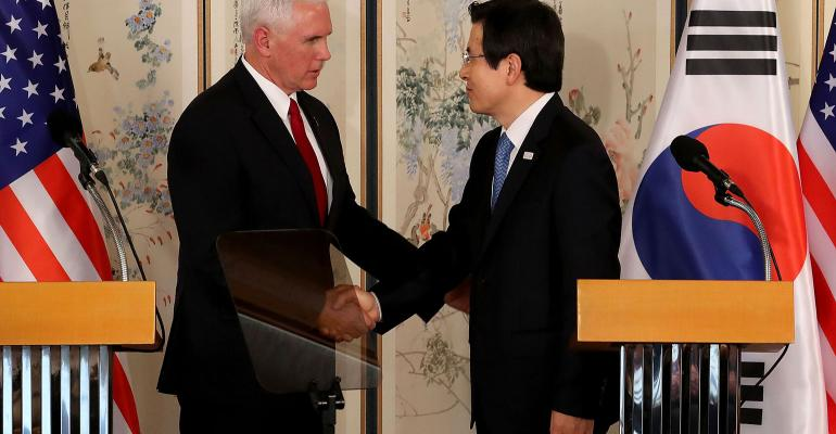 U.S. Vice President Mike Pence shakes hands with South Korean acting president and prime minister Hwang Kyo-ahn during their joint press conference on April 17, 2017, in Seoul, South Korea.