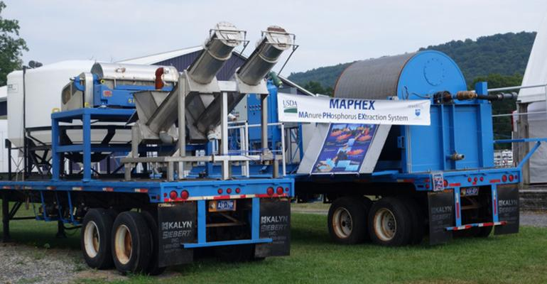 MAPHEX was designed to be a mobile system that fits on two large flatbed trailers to service a number of small- or medium-size dairies. If it is scaled up to have the capacity to treat manure from a large dairy, it would no longer be mobile.