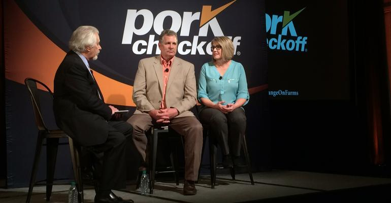 """Phil Lempert (The Supermarket Guru), Brad Greenway and Peggy Greenway talk antibiotic use on the farm during the """"Real Change: A Live Discussion of On-Farm Antibiotic Use, a live online broadcast event at Pork Forum in Atlanta."""