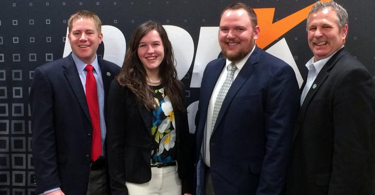 2017 Pig Farmers of Tomorrow: Kyle Coble, Maddie Schafer and Logan Thornton with Brad Greenway, America's Pig Farmer of the Year.