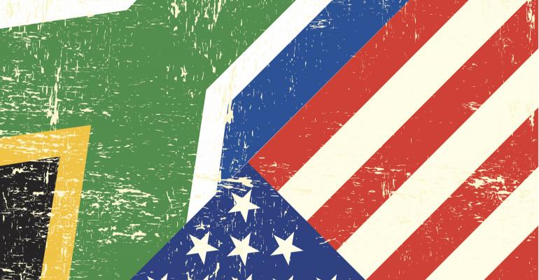 South African and U.S. flag combined, distressed look